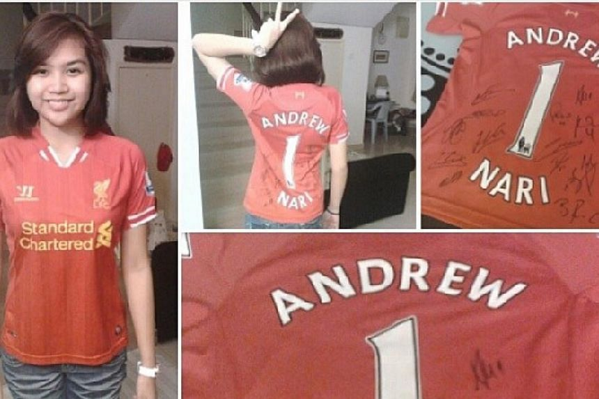 Ms Maira Elizabeth Nari in a jersey gifted to her family from Liverpool football club.-- PHOTO: FROM INSTAGRAM OF MAIRA ELIZABETH NARI