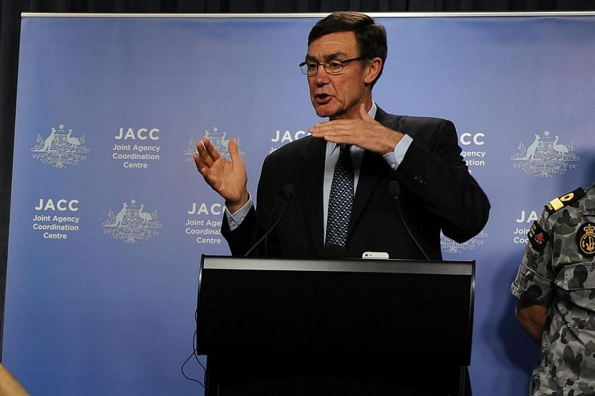 Mr Angus Houston, head of the Joint Agency Coordination Centre leading the search for missing Malaysia Airlines Flight MH370, speaks at a media conference in Perth on April 9, 2014. -- FILE PHOTO: AFP