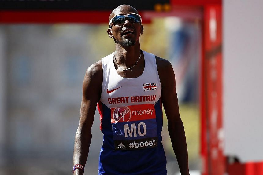 Mo Farah of Britain reacts after finishing in eighth position in the men's Elite London Marathon on April 13, 2014. Ahead of Mo Farah's much-hyped marathon debut in London on Sunday, few expert observers believed he stood any chance of winning.