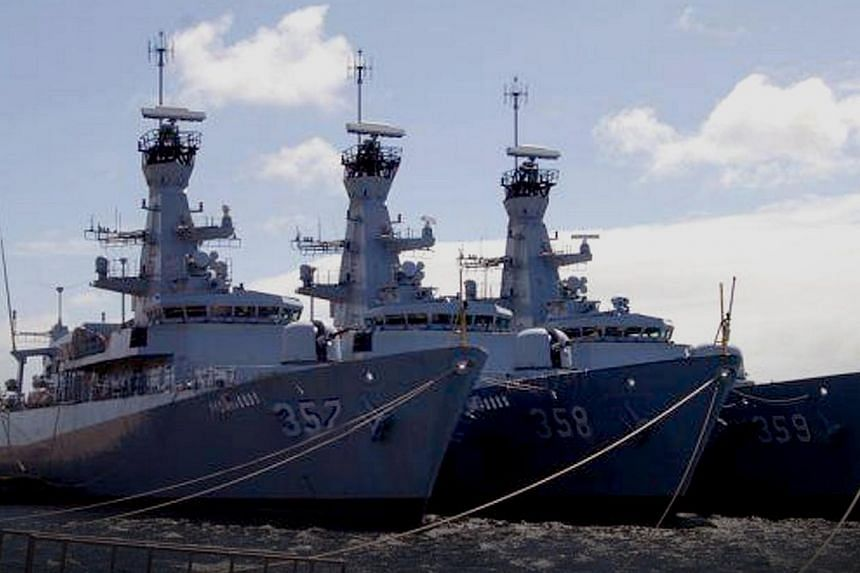 (From right) KRI Usman Harun 359, KRI John Lie 358 and KRI Bung Tomo 357, the three newest frigates of the Indonesian Navy, being fitted at a yard in Britain. -- FILE PHOTO: INDONESIAN NAVY