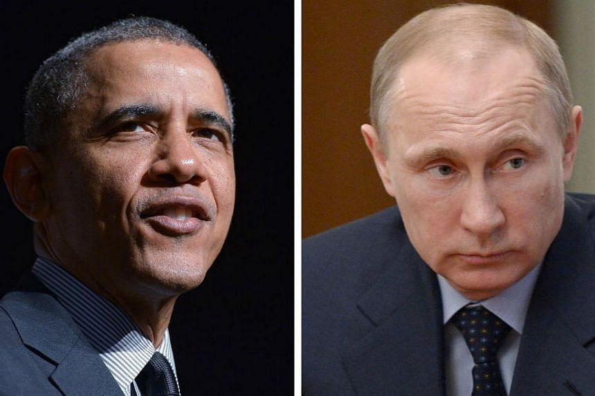 United States (US) President Barack Obama (left) and Russia President Vladimir Putin confronted one another in telephone talks on Monday as a standoff over Ukraine escalated after the Central Intelligence Agency chief visited Kiev and a Russian war p