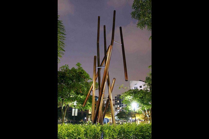 Filipino artist Rodel Tapaya's canvas Baston Ni Kabunian, Bilang Pero Di Mabilang (Cane Of Kabunian, Numbered But Cannot Be Counted, above) won him the Asia Pacific Breweries Foundation Signature Art Prize in 2011. The sculpture West East Circle (bel