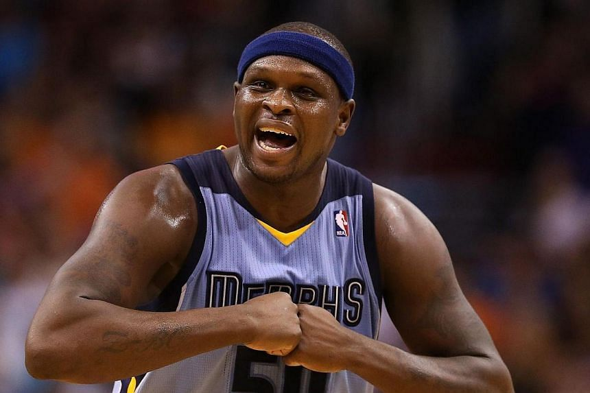 Zach Randolph #50 of the Memphis Grizzlies reacts during the second half of the NBA game against the Phoenix Suns at US Airways Center on Monday, April 14, 2014, in Phoenix, Arizona.Zach Randolph scored a season-high 32 points and collected nin