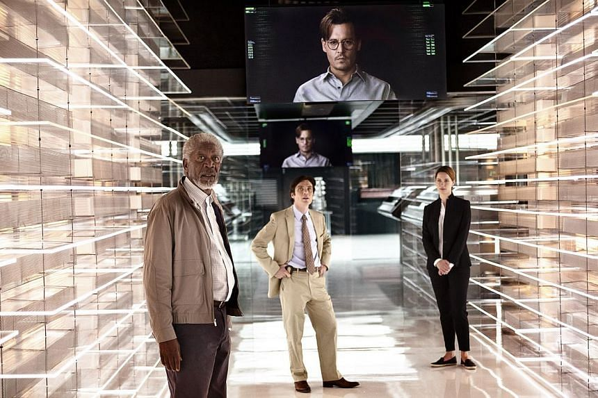 Morgan Freeman (foreground) plays a scientist who works on mitigating the damage after the consciousness of Johnny Depp's character is migrated into a computer. -- PHOTO: GOLDEN VILLAGE