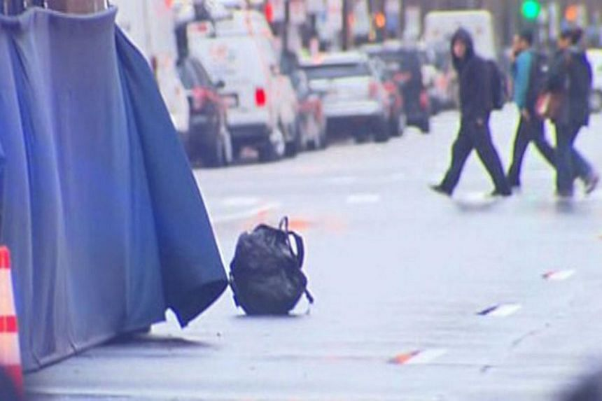 A backpack that was left unattended on Boylston Street at the finish line of the Boston Marathon is pictured in this still handout image taken from video courtesy of WBZ-TV, in Boston, Massachusetts on April 15, 2014. -- PHOTO: REUTERSw