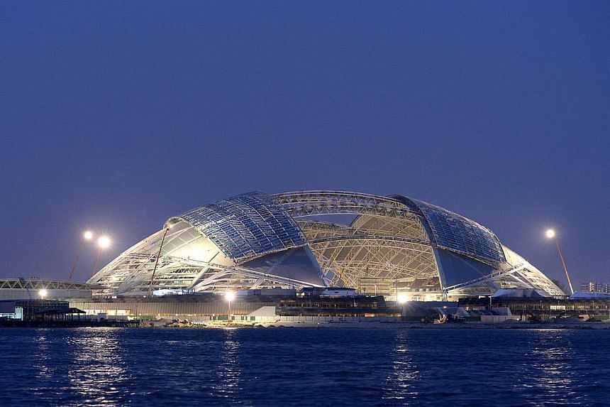 The construction at the Singapore Sports Hub is near completion. -- ST FILE PHOTO: JAMIE KOH