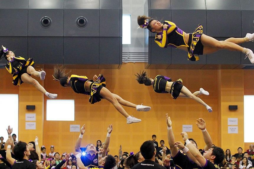 The Ulu Pandan Wildcards during the National Cheerleading Championships at the Pasir Ris Sports and Recreation Centre Sports Hall on March 25, 2012. -- FILE PHOTO: THE NEW PAPER
