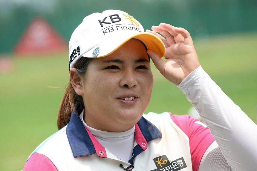 Park In Bee of South Korea is seen at the Sentosa golf club during the Pro-Am Shotgun Start ahead of the 2014 HSBC Women's Champions in Singapore on Feb 26, 2014. South Korea's Park In Bee hopes to celebrate a year atop the women's golf world ranking