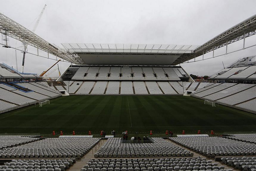 A general view of the Arena Sao Paulo stadium, which will host the opening soccer match of the 2014 FIFA World Cup, in Sao Paulo on April 15, 2014. -- PHOTO: REUTERS