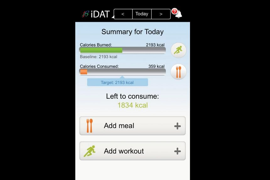 The iDat app (above, left) by the Health Promotion Board calculates the daily calorie balance of a soldier. The Army Safety App has information such as the PSI and weather forecasts.