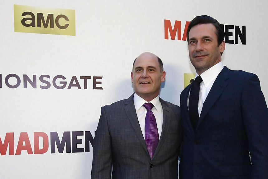 Mad Men creator Matthew Weiner (right) and his leading man, Jon Hamm (far right), at the show's seventh season premiere in Los Angeles.