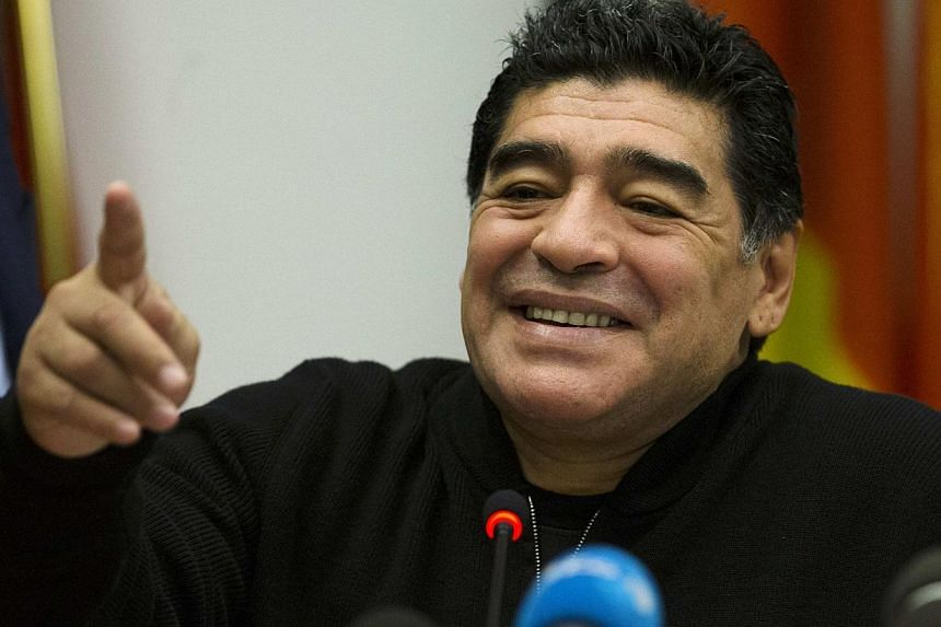 Former Argentine soccer player Diego Maradona reacts during a news conference at the European Parliament office in Rome on Feb 14, 2014. -- FILE PHOTO: REUTERS