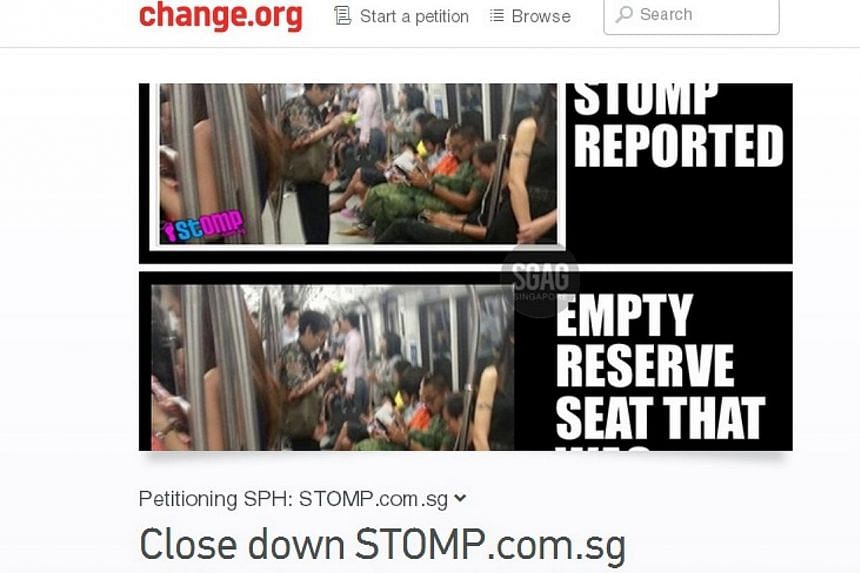 An image showing the online petition, hosted on international campaigning site change.org, to shut down the Stomp website. -- PHOTO: CHANGE.ORG