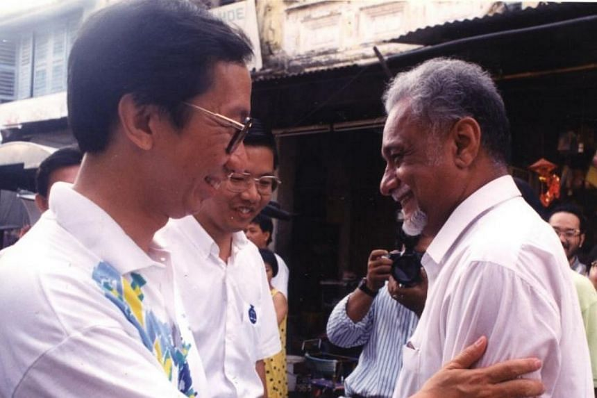 Dr Koh Tsu Koon meeting Karpal Singh during their rounds at Carnarvon Street.-- FILE PHOTO: THE STAR/ ASIA NEWS NETWORK