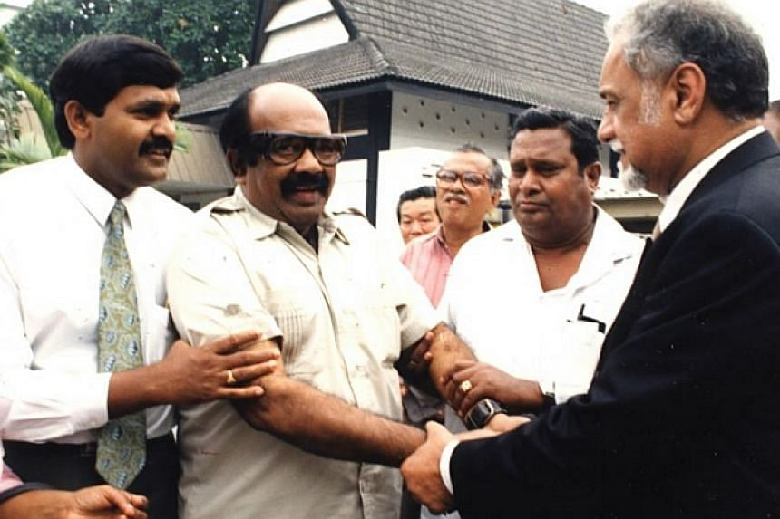 1994:Dr. V. David (third from left) greeted by counsel Karpal Singh (far right) at the court's compound.-- FILE PHOTO: THE STAR/ ASIA NEWS NETWORK