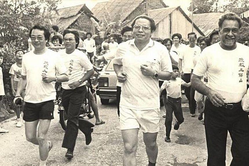 "1984: Lim Kit Siang, flanked by Karpal Singh and Penang DAP secretary Mr Gooi Hock Seng, (left) participating in the ""Save Bukit China"" campaign at the Air Itam Dam.-- FILE PHOTO: THE STAR/ ASIA NEWS NETWORK"