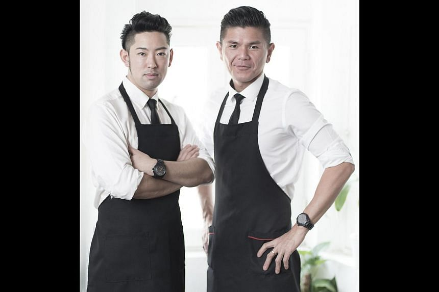 Maison Ikkoku's Ethan Leslie Leong (right) will team up with chef Kenjiro Hashida (left) to pair cocktails with bar bites such as Fleur De Avril with Cheese & Crack. -- PHOTO: MAISON IKKOKU