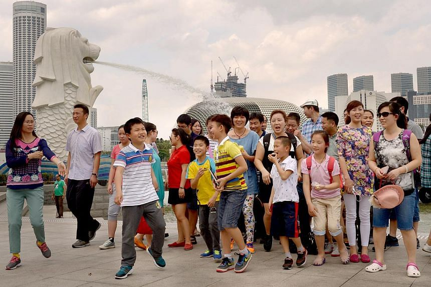 Tourists from China visiting the Merlion in February. Travel agents association Natas says current bookings for packages which include Singapore as a stopover have fallen by more than 50 per cent at some agencies. -- ST PHOTO: LIM SIN THAI
