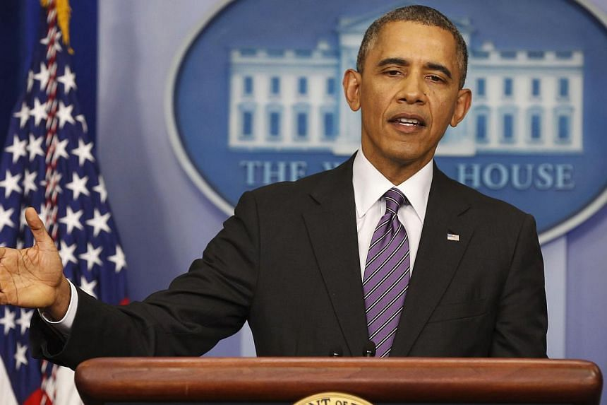 """US President Barack Obama makes a statement to the media in the Brady Press Briefing Room at the White House in Washington on April 17, 2014.US President Barack Obama said a deal on Thursday to de-escalate tensions in Ukraine was a """"glimmer of"""