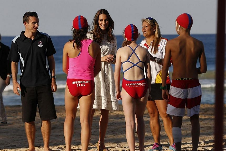 Catherine, Britain's Duchess of Cambridge, talks to junior surf lifesavers during her visit to a surf lifesaving demonstration at Sydney's Manly beach on April 18, 2014. -- PHOTO: REUTERS