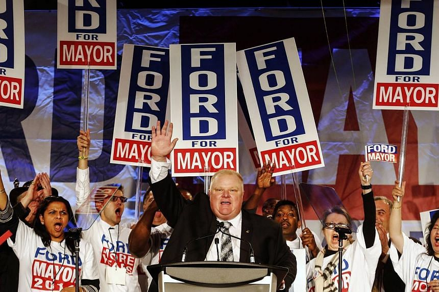 Toronto Mayor Rob Ford (centre) speaks at his campaign launch party in Toronto on April 17, 2014.Mr Ford, who has admitted to binge drinking and smoking crack, has launched his bid for re-election. -- PHOTO: REUTERS