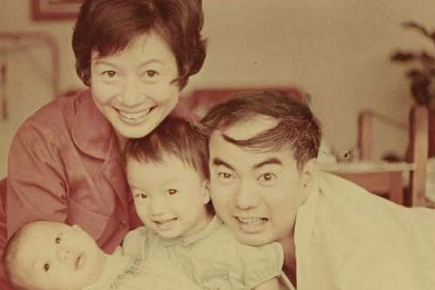 Back in 1967 at age 30, with her husband William Lim, then 35, son Weiwen, six months old, and daughter Chiwen, two. -- PHOTO: WILLIAM LIM