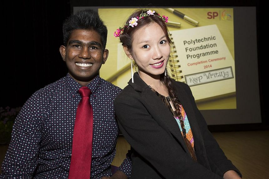Mark Sathyan and Victoria Tan are among those on the scheme who progressed to diploma courses. -- PHOTO: SINGAPORE POLYTECHNIC