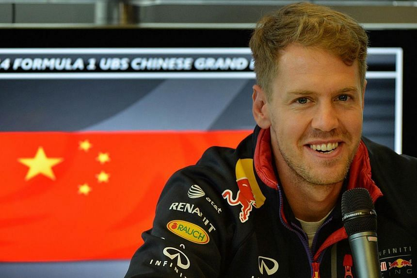 Infiniti Red Bull driver Sebastian Vettel of Germany speaks during a press briefing before the upcoming the Formula One Chinese Grand Prix in Shanghai, on April 17, 2014. Vettel admitted he needs to raise his game after Red Bull team-mate Daniel Ricc