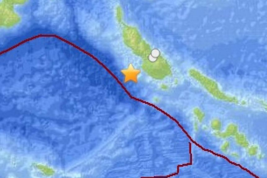 The quake hit 75km south-west of the town of Panguna on Bougainville island, USGS said, and came after a 6.6-magnitude tremor earlier on Saturday. -- PHOTO: UNITED STATES GEOLOGICAL SURVEY SCREENGRAB