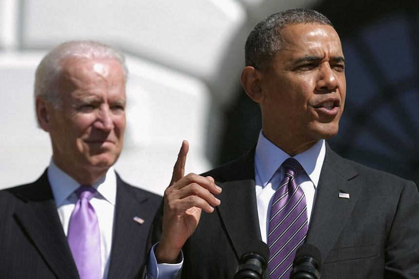 U.S. President Barack Obama (Right) delivers remarks during the kickoff of the seventh annual Wounded Warrior Project's Soldier Ride with Vice President Joe Biden on the driveway of the South Lawn April 17, 2014 in Washington, DC. Asia's strateg