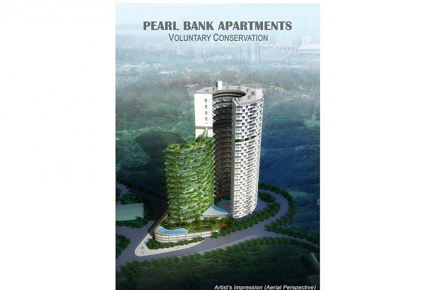 An artist's impression of the new Pearl Bank Apartments, including a new 27-storey podium block to be constructed on top of what is currently the carpark.Designed by Singapore architect Tan Cheng Siong, the building comprises an elegantly compl