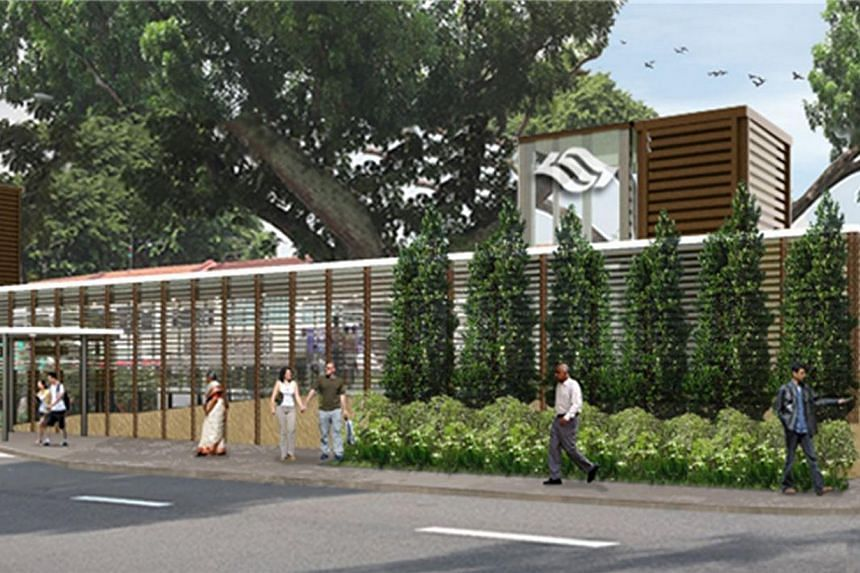 Artist's impression of the entrance of Upper Thomson Station of the Thomson Line, which will be located near Thomson Plaza shopping centre.Contracts worth nearly $1.15 billion have been awarded for the upcoming Thomson and Eastern Region Lines.