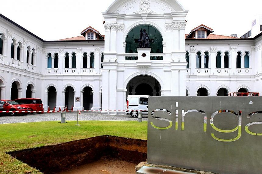 A plot of land in front of the Singapore Art Museum (SAM) has been dug up and moved inside as an exhibit for the museum's inaugural exhibition titled, Unearthed.The Singapore Art Museum, in its inaugural exhibition as an independent visual arts