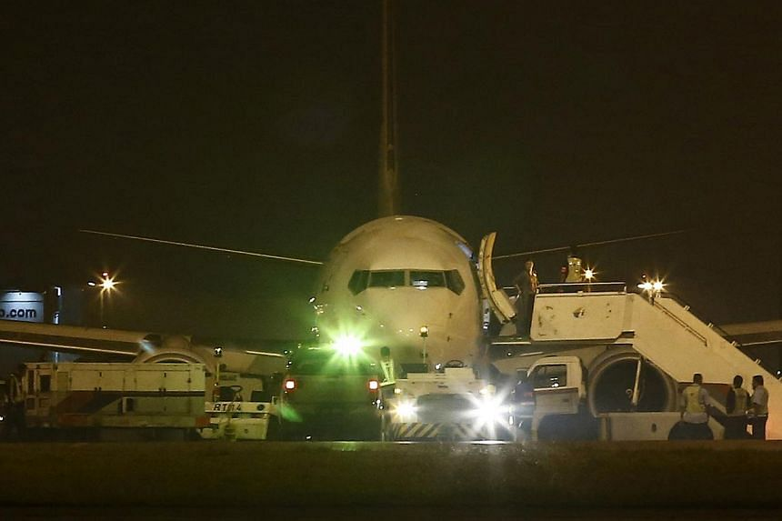 Malaysia Airlines flight MH192 from Kuala Lumpur to Bangalore is seen at Kuala Lumpur International Airport in Sepang outside Kuala Lumpur on April 21, 2014. -- PHOTO: REUTERS