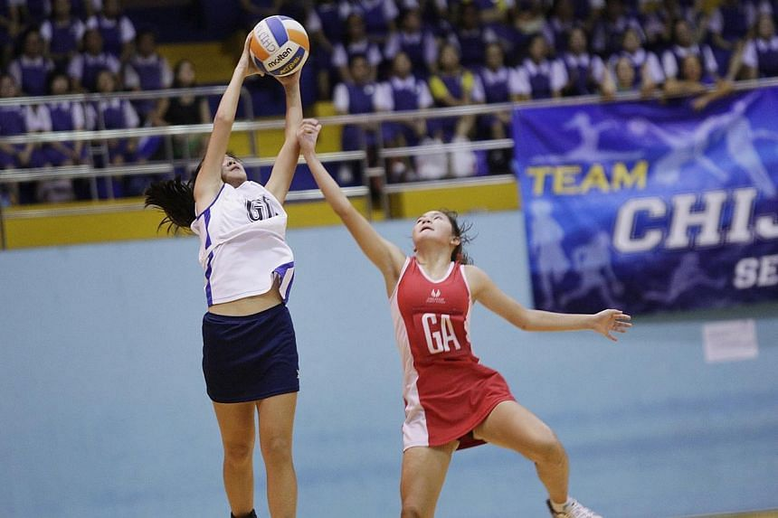 Schools National Netball Championships B and C Division finals.Reigning double-division champions CHIJ Toa Payoh Secondary endured a day of mixed fortunes at the Schools National Netball Championships finals on Monday, April 21, 2014. --