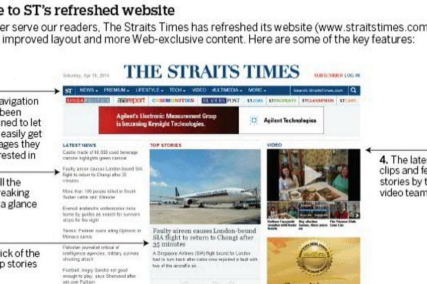 The Straits Times has refreshed its website - straitstimes.com - so that the best of its content is better showcased. -- PHOTO: SCREENGRAB FROM WWW.STRAITSTIMES.COM