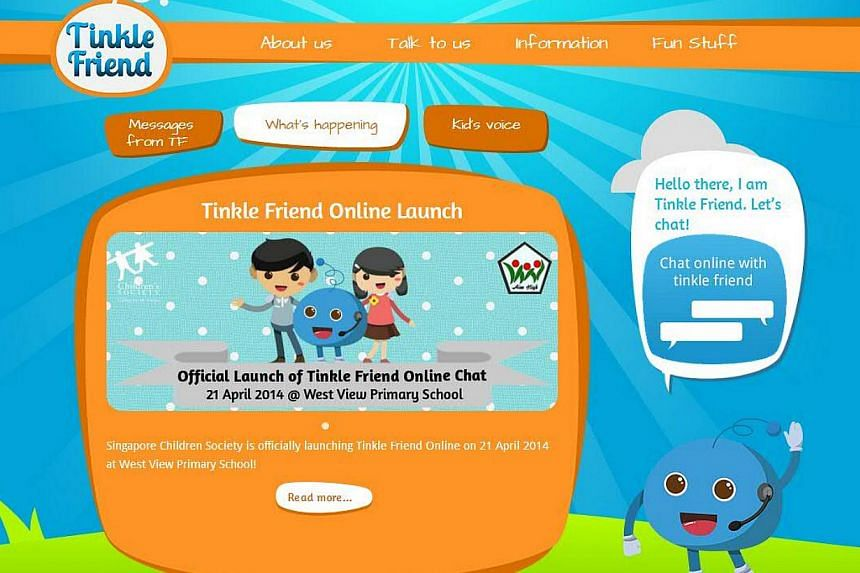 The Singapore Children's Society launched Tinkle Friend Online on April 21, 2014, the only online chat service for distressed children here. -- PHOTO: TINKLEFRIEND.COM/SCREENGRAB