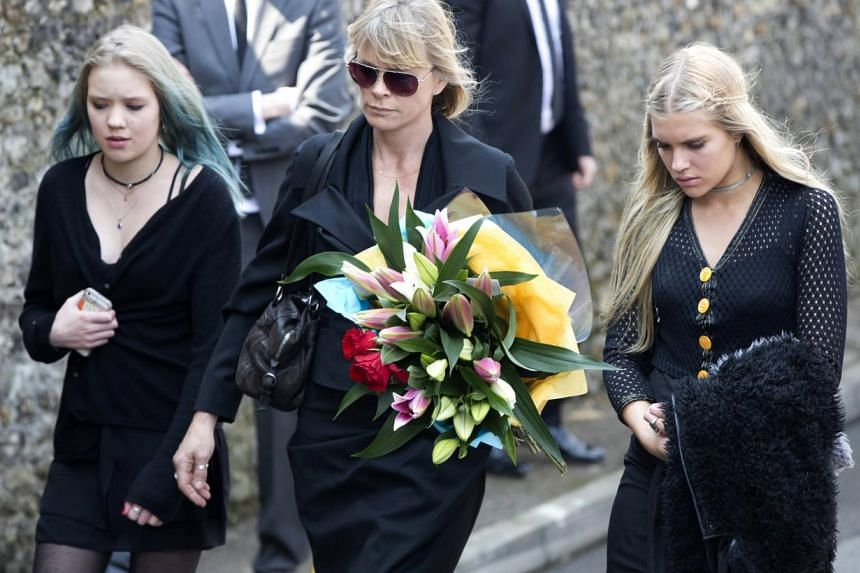 Deborah Leng (centre) arrives at the funeral service for Peaches Geldof at the St Mary Magdalene and St Lawrence church in Davington, southeast England on April 21, 2014. -- PHOTO: REUTERS