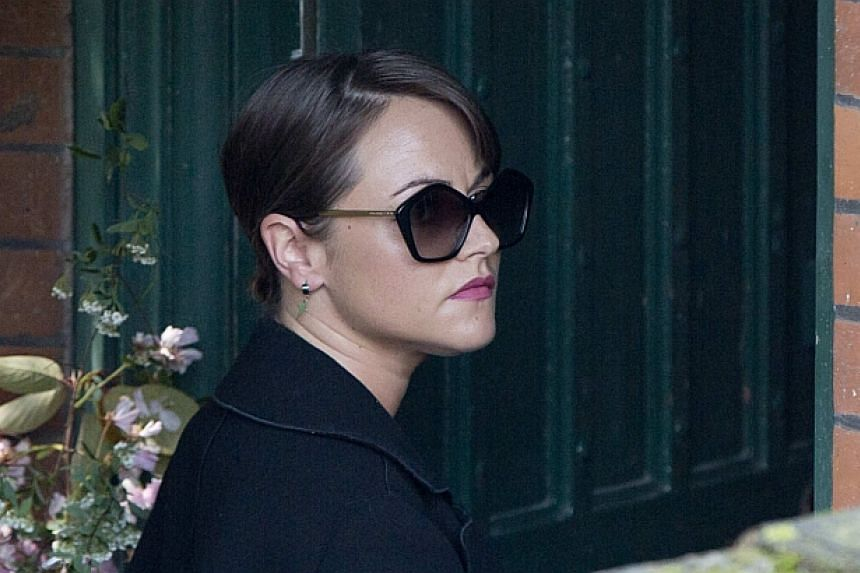 Actress Jaime Winstone arrives at the funeral service for Peaches Geldof at the St Mary Magdalene and St Lawrence church in Davington, southeast England on April 21, 2014. -- PHOTO: REUTERS