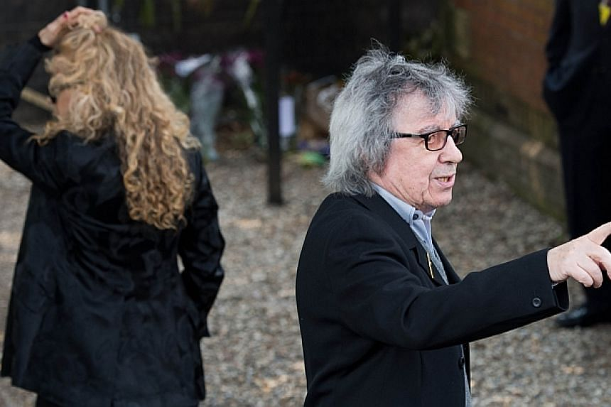 British musician Bill Wyman arrives at St Mary Madgalene and St Lawrence Church in Davington, Kent ahead of the funeral of Peaches Geldof on April 21, 2014. -- PHOTO: AFP