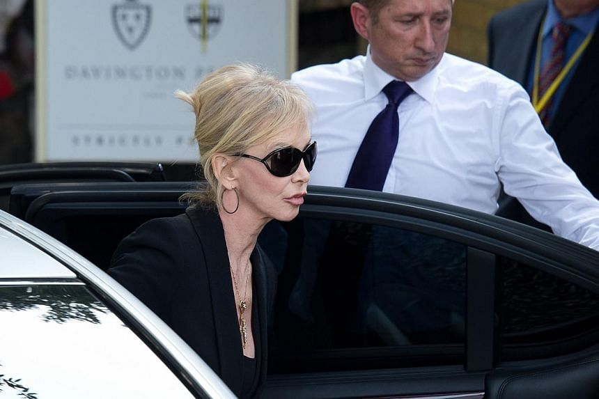 British actress Trudie Styler arrives at St Mary Madgalene and St Lawrence Church in Davington, Kent ahead of the funeral of Peaches Geldof on April 21, 2014. -- PHOTO: AFP