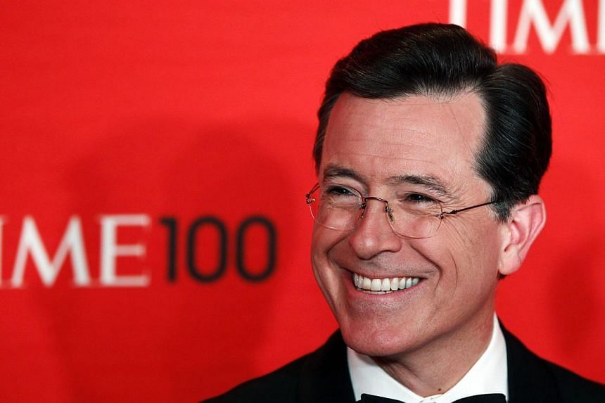 Comedian Stephen Colbert arrives to be honored at the Time 100 Gala in New York in this April 24, 2012 file photo. Stephen Colbert dropped in on David Letterman's late night CBS talk show, the Late Show on Tuesday, to get a glimpse of the rigour