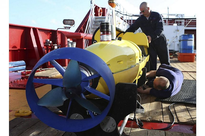 The torpedo-shaped autonomous underwater vehicle called a Bluefin-21 is on mission 10 in the underwater search area, JACC said. -- FILE PHOTO: REUTERS