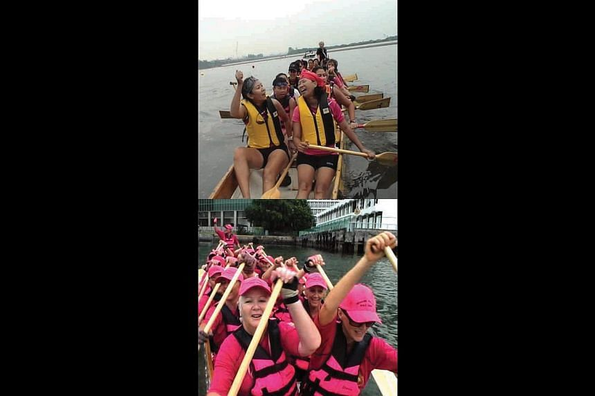Message films shown here include Love Cuts (2010) on breast cancer, starring Zoe Tay and Kenny Ho; documentary Pink Paddlers (2007, above), on a breast-cancer survivor dragonboat team; and 3.50, about sex slavery in Cambodia, starring Eunice Olsen. -