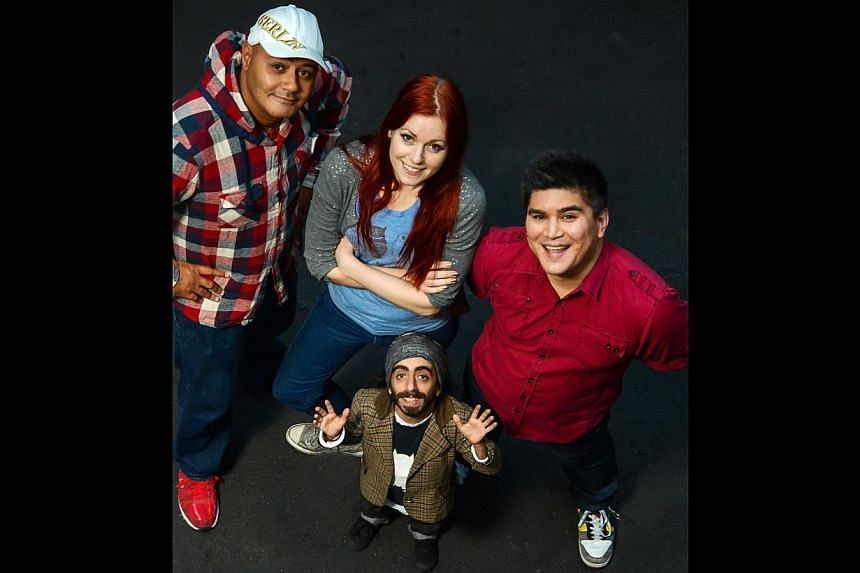 Comedians (clockwise from forefront) Imaan Hadchiti, Nik Coppin, Sarah Jones and Jason Chong. -- PHOTO: PATRICK MCCULLAGH