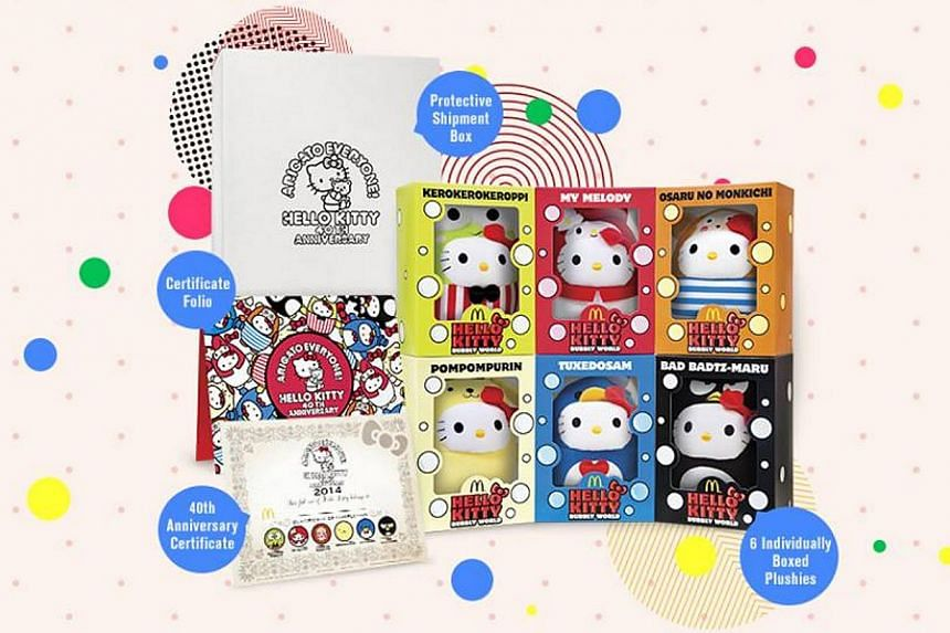 The Hello Kitty Bubbly World Collector's set along with a 40th Anniversary certificate and six Extra Value Meal $5 vouchers are available for pre-order online on April 23, 2014. -- PHOTO: MCDONALD'S SINGAPORE