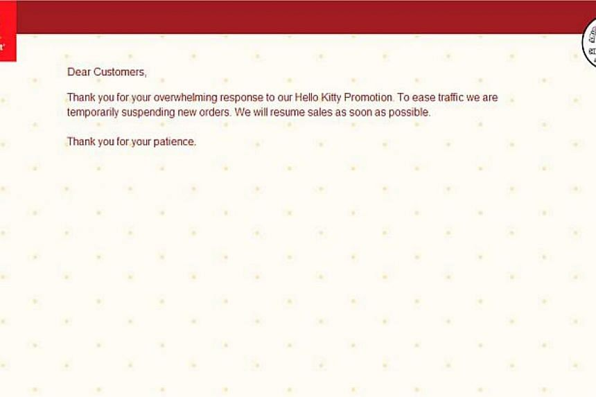 Screen capture from McDonald's website on April 23, 2014. Fast food chain McDonald's, overwhelmed by orders on its website, had to stop selling its Hello Kitty dolls within just 80 minutes.-- PHOTO: SCREEN CAPTURE FROM MCDONALD'S WEBSITE