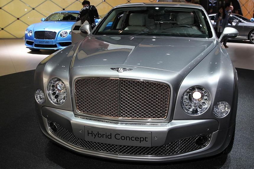 A Bentley hybrid concept car on display at the China International Exhibition Center during the Auto China 2014 Beijing International Automotive Exhibition in Beijing, on April 20, 2014. -- FILE PHOTO: AFP