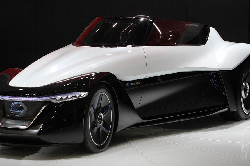 A Nissan Zero Emission car on display at the China International Exhibition Centre new venue during the Auto China 2014 Beijing International Automotive Exhibition in Beijing, on April 20, 2014. From fast cars to luxury sedans, leading automakers hav