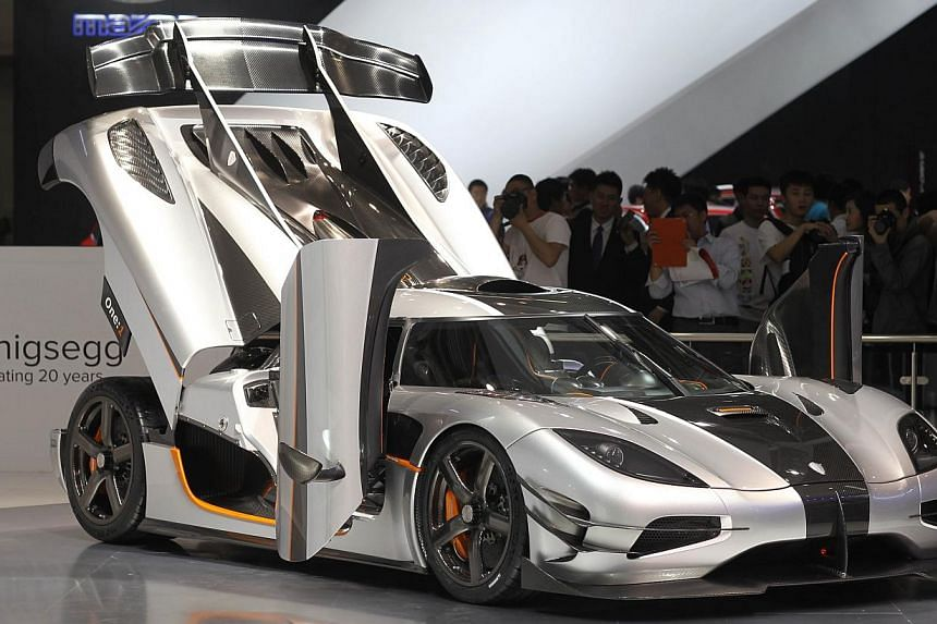 A Koenigsegg sports car is on display at the China International Exhibition Centre new venue during the Auto China 2014 Beijing International Automotive Exhibition in Beijing, on April 21, 2014. -- FILE PHOTO: AFP
